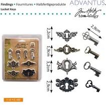 métal antique 4 boutonnières + 4 touches anciennes et 8 vis