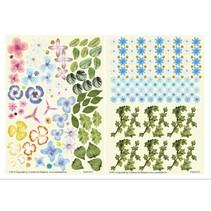 Stanzbogen, 2er Set Blumen Gestaltungen, blau