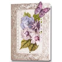 Die cut ark, sæt med 2 blomsterdekorationer, lilla