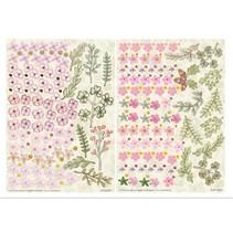 Die cut ark, sæt med 2 blomsterdekorationer, pink
