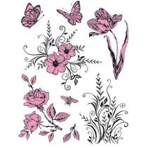 Gennemsigtige frimærker Tema: Blomster