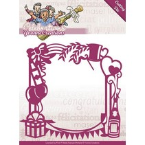 Punching and embossing template: Party frame