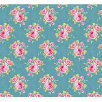 Cotton fabric, Grandma's Rose, blue, 50 x 70cm, 100% cotton.