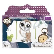 Transparent jeu de timbres: hibou, feuilles, fleurs et une horloge