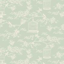 Tilda cotton fabric, Toile Birdcage, mint, 50 x 55 cm, 100% cotton