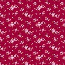 Bomuldsstof, mini rose, rød, 50 x 55 cm, 100% bomuld