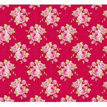 Rose de coton grand-mère, rouge, 50 x 70 cm, 100% coton