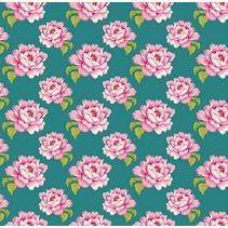 Cotton fabric, Tilda bit, 50 x 70cm, Teal Peony Cotton