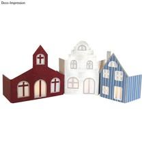 Gran juego de nave: papel maché Set - pueblo Fachada con 3 casas!