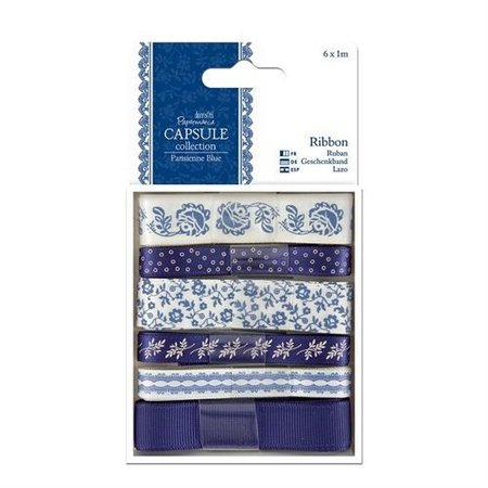 Docrafts / Papermania / Urban 6 X 1m satinbånd, blå toner, ParisienneBlue