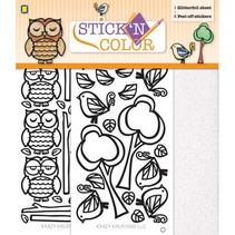 1 Glitterfoil Bogen / 2 Peel-off Aufkleber: Eule