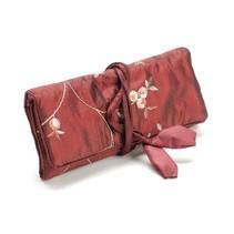rouleau de Elegance bijoux, rouge, 19x 26cm, brodée de petits bouquets.