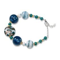 Prêt Serafina Bracelet 1, turquoise, blanc et or, 18cm, avec une chaîne de réglementation et mousqueton