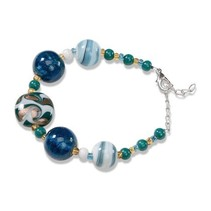 Ready Serafina Bracelet 1, turquoise, white and gold, 18cm, with regulatory chain and carabiner