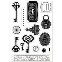 A6 motif de timbre, transparents, clé, 15 x 10cm.