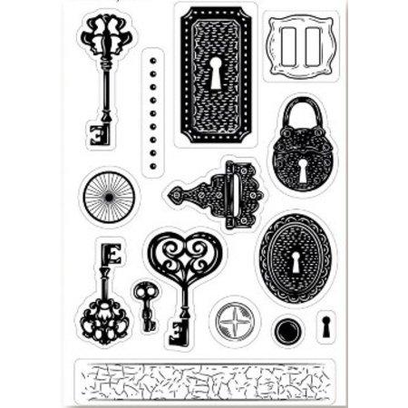 Stempel / Stamp: Transparent Kanban timbre motif A6, transparents, clé, 15 x 10cm.