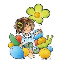 sello transparente: Snoesjes, muchacha con los globos
