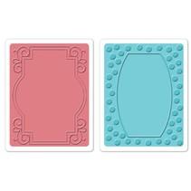 Gofrado carpetas, 2 piezas, marco con remolinos y marcos con puntos