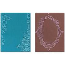 Gofrado carpetas, 2 piezas, marco con remolinos y cuadros con motivos florales