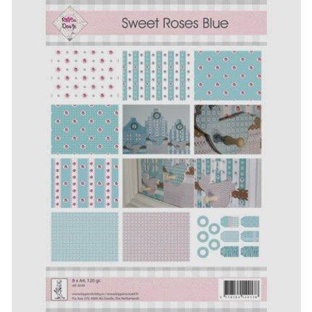 """DESIGNER BLÖCKE  / DESIGNER PAPER A4, papir og etiketter, """"Søde Roses Blue"""""""