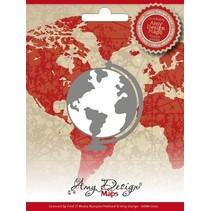 Stampaggio e goffratura stencil, Amy Design, mappe, Globe