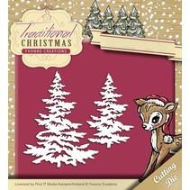 Poinçonnage et gaufrage modèle: arbres de Noël avec de la neige