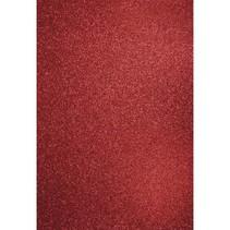 A4 håndværk karton: Glitter kardinal rød