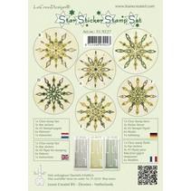 Pegatinas Estrella conjunto verde sello, 1 sello transparente, de 3 estrellas pegatinas, papel sello 4xA5, 6 plantillas e instrucciones