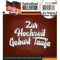 Stansning og prægning skabeloner: Tysk tekst: Til Bryllup Fødsel Dåb