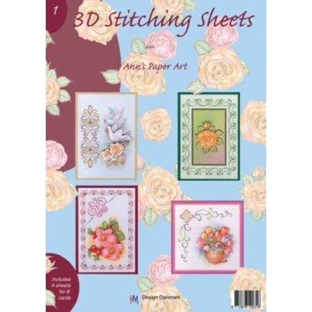 Bücher und CD / Magazines A4 livre Stickvorlage pour 8 cartes