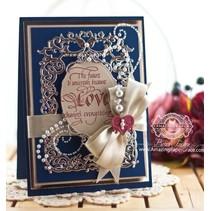 Stansning og prægning skabelon: Floral ramme med hjerte