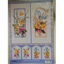 Feuilles 3D decoupees + 1 feuille fond: fleurs avec étiquette de cadeau