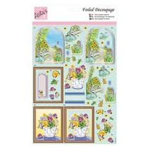 Exclusive 3D Die cut sheets with silver effect, Floral Retreat