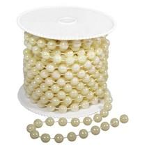 Grand collier de perles, 8 mm, couleur crème,