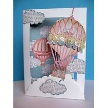 12% RABAT! Stempling skabelon kit til 3D image design, luftballon Vintage