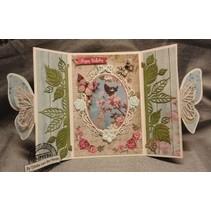 Stampaggio e goffratura stencil: Rose cornice decorativa e 2 rose