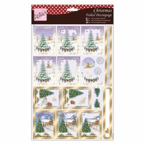 Exclusive 3D Die cut sheets with silver effect, Christmas Village