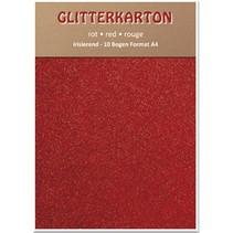 Glitter cardboard, 10 sheets, red