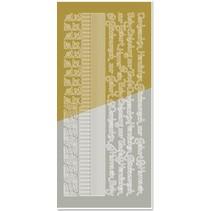 Kombi-Sticker, Ränder, Ecken, Texte: Baby, Geburt, Taufe, gold-gold