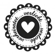 Holze Mini timbre + 12 étiquettes en forme de coeur