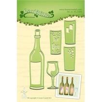 plantillas de punzonado y estampado en relieve, porque fijo, botella y vasos