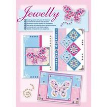 NOUVEAUX; Bastelset, Jewelly Papillons ensemble, de belles cartes brillantes avec autocollant