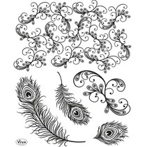 tampons transparents, plumes de paon