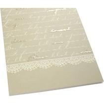 10 Doppelkarten mit Script Druckmuster davon 5 mit und 5 ohne Glitter
