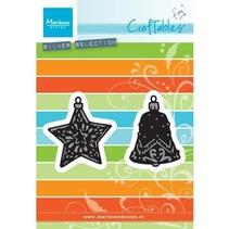 Stanz- und Prägeschablone: Tiny's ornaments Stern und Glocke