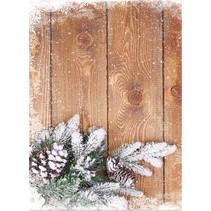 Kartenkarton Weihnachten, Holzbretter mit Zweigen
