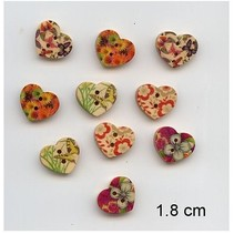 10 agréable, boutons de coeur, 1,8 cm