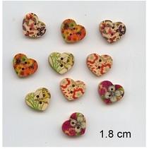 10 nice, hjerte-knapper, 1,8 cm