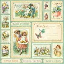 """NUEVO: Gran papel Diseñador, """"sentimiento dulce, primavera está en el aer"""", 1 hoja de 30,5 x 30,5 cm"""