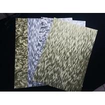 hoja A4 hoja de cartón laminado en grabado en metal, 4 hojas, oro y plata